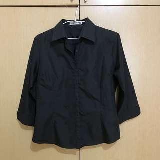 🚚 黑色七分袖襯衫