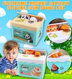 Electronic Mischief Cartoon Stealing Coin Saving Box