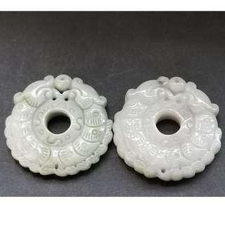 玉石雕刻掛件雙龍報喜一對   直徑約50mm厚約10mm   直徑約50厚約12mm