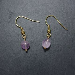 🚚 手作-紫水晶 耳夾