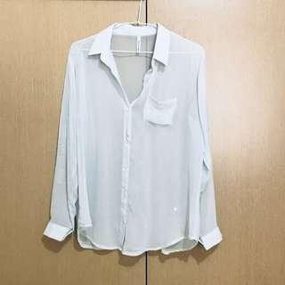🚚 韓國製🇰🇷淺藍雪紡襯衫