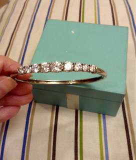 Silver Bangle with cubic zirconia stones
