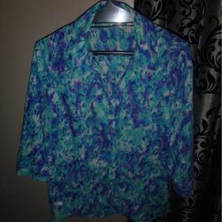 Aqua purple blouse