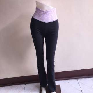 UNCLEAR TAG black wide band lavander leggings pants small
