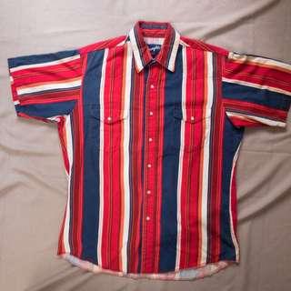 宏都拉斯製🇭🇳wrangler 紅色條紋短袖襯衫❤️任選賣場兩件減100✨古著復古vintage