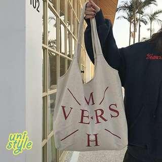 日式小清新帆布袋DIY訂製時尚潮流單肩袋包包生日禮物送女仔帆布包簡約百搭韓版文藝風束口袋抽繩包抽繩袋