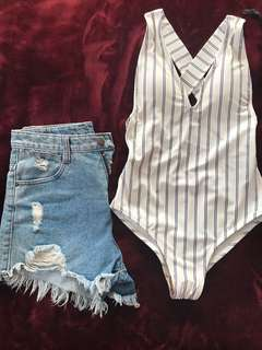 white stripes one piece swimsuit/top