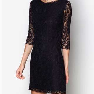 Black stylish midi dress with lace and 3/4 sleeves