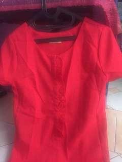 Red dress ruffle