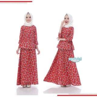 3-in-1 hijab set merah (5-10T)