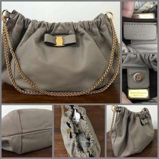 Salvatore Ferragamo Hobo Chain Handle Bag Gray