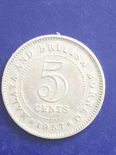 Malaya 5 Cent 1957H, VF
