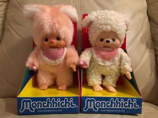 Monchhichi 公仔 口水巾 朋友仔 動物朋友 兔仔 羊仔 已絕版 款式難求