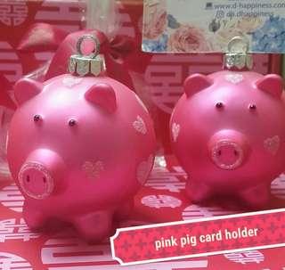 玻璃豬相片夾 piggy card holder