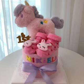 Baby Diaper Cake Mini 1-Tier (15cm) Unicorn Soft Toy for Baby Shower Gift / New Born Gift / Birthday