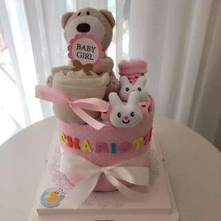 Baby Diaper Cake Mini 1-Tier (15cm) for New Born / Full Month / 100 Days