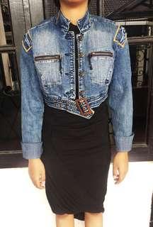 Cropped Denim Jacket with Belt