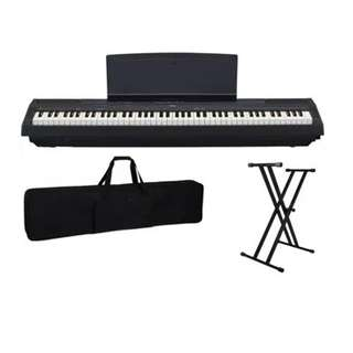 YAMAHA P-115 WITH SUSTAIN PEDAL STAND AND KACES GIG BAG WITH WHEELS