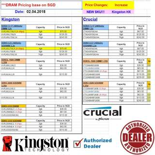 "KingSton...., to Crucial DDR4 ram... price list.   Interested...!! ""Start Order Today or Walk in Direct for Cheaper Offer rate"" (Apr-May 2018 price list)"