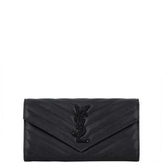 Authentic Saint Laurent Monogram Matelassé Flap Wallet Large
