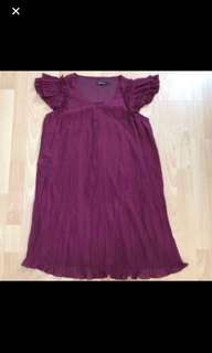 Preloved Expandable Maroon Maternity Dress With Folds and flutter sleeves