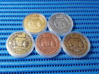 1981 China A Centennial of Railways R.O.C. 1881 - 1981 Commemorative Medallions ( Lot of 5 Pieces )