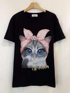 韓國東大門夏季新款 spoon 簡單小貓短袖T恤