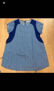 Preloved Blue Maternity Blouse With white polka Dots Cap sleeves