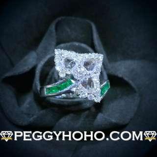 【Peggyhoho】全新18K白金1卡17份真鑽石配綠寶石戒指| 罕有 ROSE CUT 鑽石|矜貴靚色綠寶石HK14號