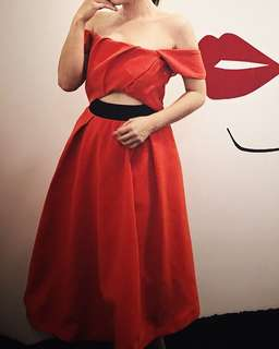 Red off shoulder can can dinner dress
