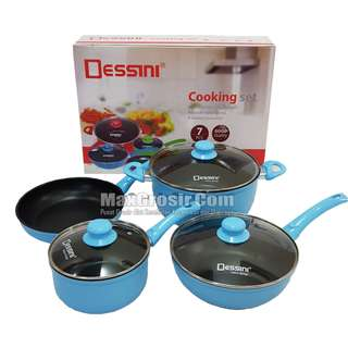 Dessini Cooking Set Panci Masak Isi 7Pcs Bahan Teflon Tebal Anti Lengket