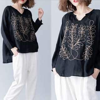 Plus Size V-neck T-shirt embroidered long-sleeved bottoming shirt summer models Tibetan cotton and linen