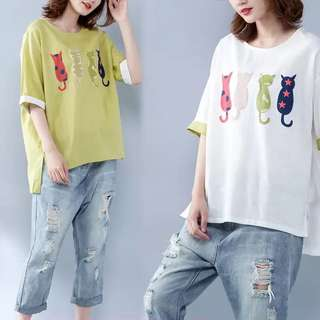 2018 Plus size summer retro color mixed cotton T-shirt by age