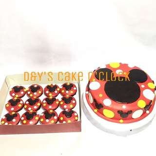 MICKEY MOUSE FONDANT CAKE AND CUPCAKES