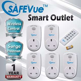 Safevue smart outlet 5 plug with remote control set