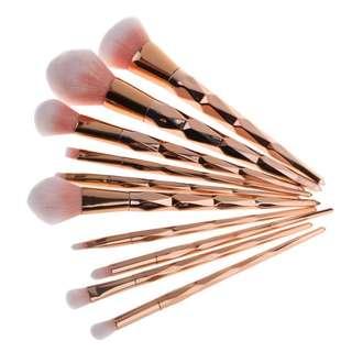 10 Pcs Rose Gold Makeup Brush Set
