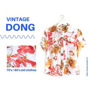 🚚 | 咚 咚 Vintage |日本古著- |碧娜花園|短袖襯衫