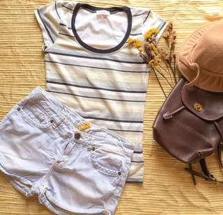 Alice package (stripes shirt and maong shorts)