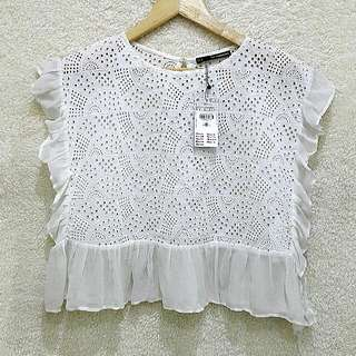 Sfera Eyelet Ruffled Top