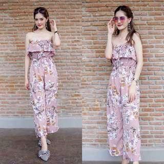 Pink tube floral Jumpsuit