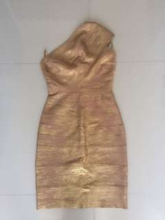 Herve leger gold dress