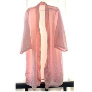 Light pink robe with ribbon sash