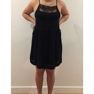 Black casual midi slip-on dress with top lace, with inner slip.