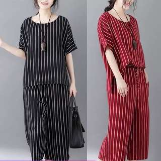 Plus Size Summer striped T-shirt top + elastic waist lace casual pants two sets