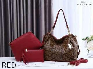 Bonia Handbag 3 in 1 Red Color
