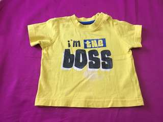 Mothercare top i'm the boss 0-3m
