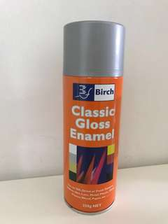 Birch Classic Gloss Enamel Silver spray paint can- left estimated half a can of contents