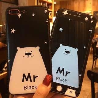手機殼IPhone6/7/8/plus(沒有X) + 前膜 : 北極熊先生全包邊軟殼(一套價錢)