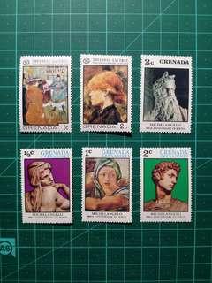 [均一價$10]1970年代 格林納達/格林納丁斯 藝術品 新票六枚