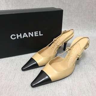 Chanel 經典 雙色高跟鞋